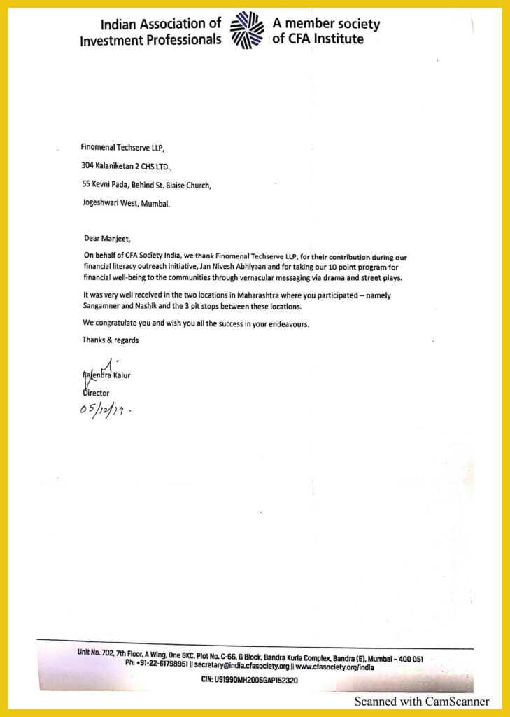 CFA certificate