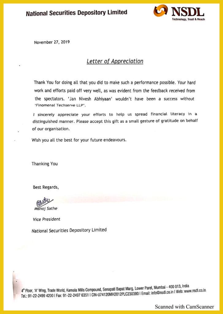 NSDL Letter